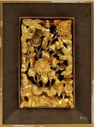 "THAILAND CARVED WOOD RELIEF, GOLD LEAF H 7"" W 12"""