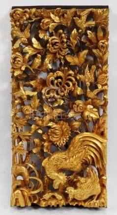 THAILAND CARVED WOOD RELIEF, GOLD LEAF