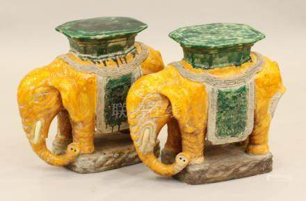 CHINESE GAZED POTTERY GARDEN SEATS, PAIR