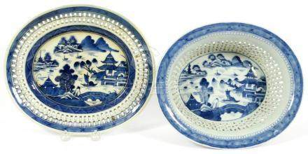 CHINESE CANTON PORCELAIN CHESTNUT BASKET AND TRAY