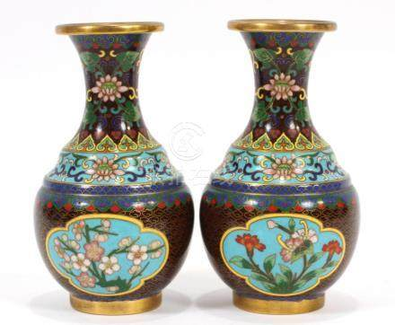 CHINESE CLOISONEE VASES PAIR H 5.5""