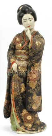 "VINTAGE JAPANESE SATSUMA FIGURE, H 17"", GEISHA"