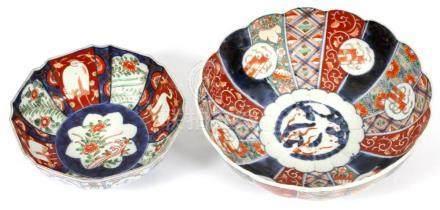 JAPANESE IMARI PORCELAIN SCALLOPED BOWLS, 19TH C.