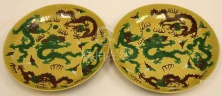 CHINESE CERAMIC PLATES, 18TH C., PAIR