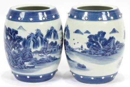 CHINESE BLUE WHITE PORCELAIN VASES, PAIR