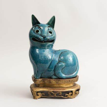 Japanese Turquoise Glazed Porcelain Cat Form Night Light