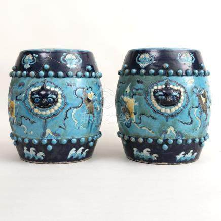 Pair of Chinese Turquoise Fahua Glazed Porcelain Garden Seat