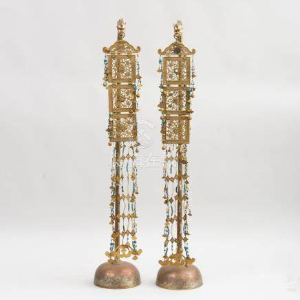 Pair of Chinese Brass and Hardstone Pendants on Stands