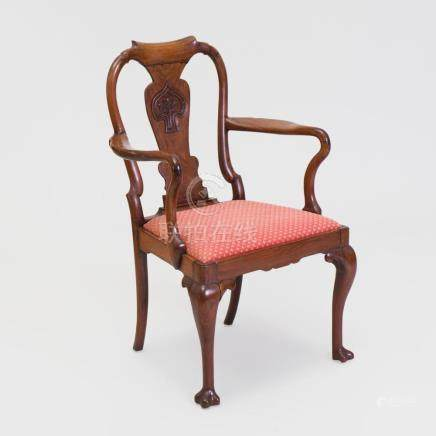 Chinese Export Carved Hardwood Open Armchair, in the English