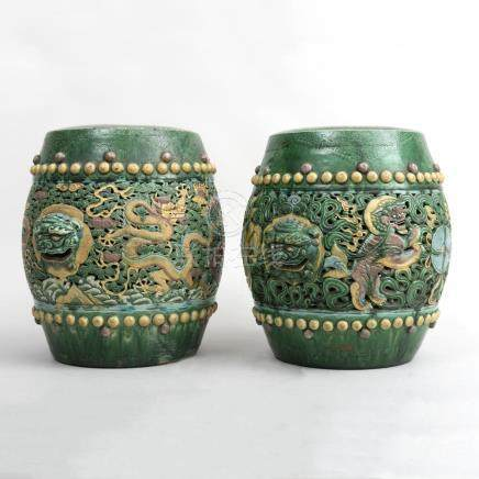 Pair of Chinese Green, Aubergine and Yellow Glazed Pottery G