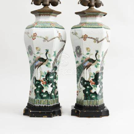 Pair of Chinese Famille Verte Porcelain Hexagonal Vases Moun