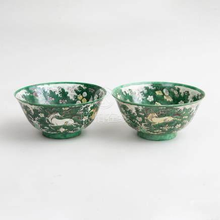 Pair of Chinese Kangxi Famille Verte Porcelain Bowls