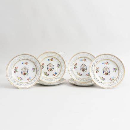 Set of Six Chinese Export Porcelain Armorial Pierced Plates