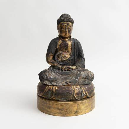 Japanese Carved Giltwood Figure of Buddha