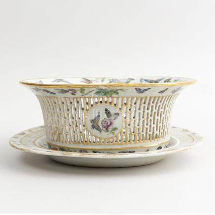 Chinese Export Canton Famille Rose Porcelain Pierced Basket