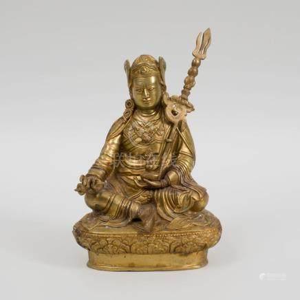 Sino-Tibetan Gilt-Bronze Figure of Padmasambhava