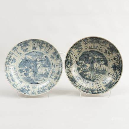 Two Similar Chinese Blue and White Porcelain Deep Dishes