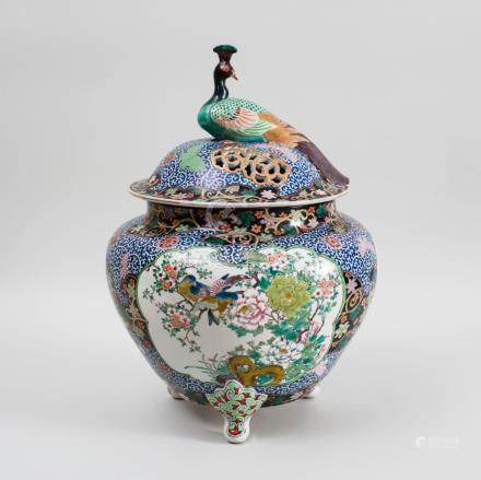 Chinese Famille Rose Pottery Tripod Large Censer and Cover
