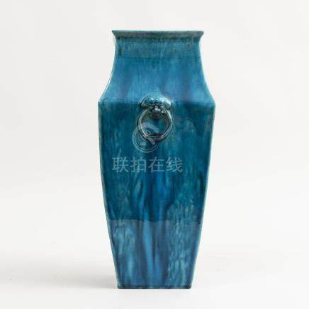 Chinese Turquoise Drip Glazed Faceted Baluster Vase with Mol