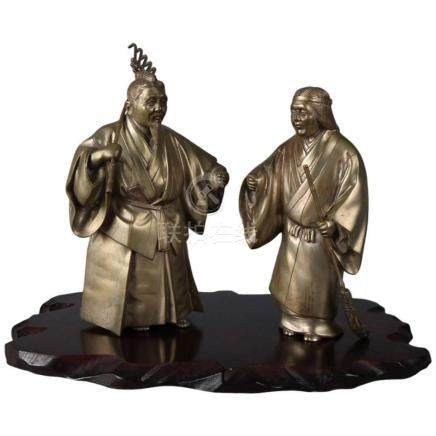 """Japanese Figural Gilt Bronze 14"""" Sculptures of Jo and Uba on"""