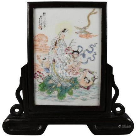 Antique Chinese Hand-Painted Porcelain Table Screen in Carve