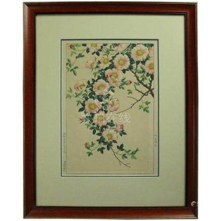 Antique Japanese Hiroshige Style Floral Watercolor Painting,