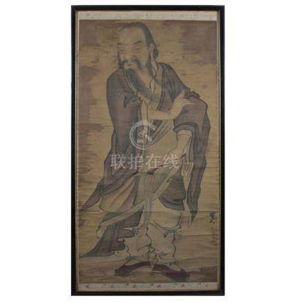 Large Antique Chinese Portrait Painting on Silk