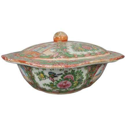 Antique Chinese Rose Medallion Hand-Painted Porcelain Tureen