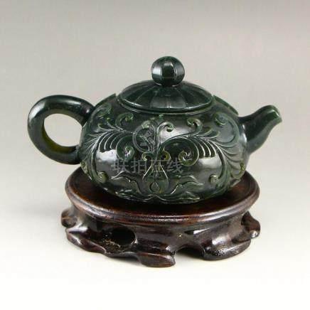 Vintage Chinese Green Hetian Jade Low Relief Teapot w Certif