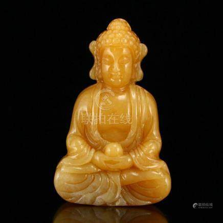 Chinese Hetian Jade Siddhartha Buddha Statue w Certificate