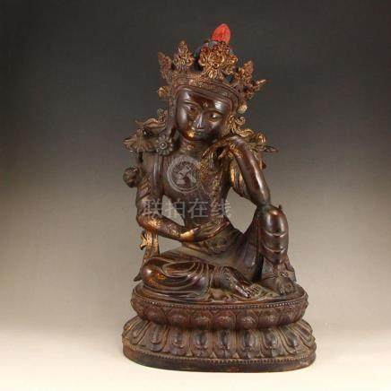 Vintage Tibetan Buddhism Gilt Gold Red Copper Tara Statue