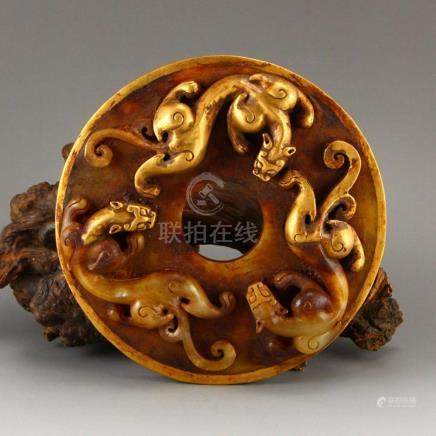 Vintage Chinese Gilt Gold Hetian Jade Chi Dragons Bi