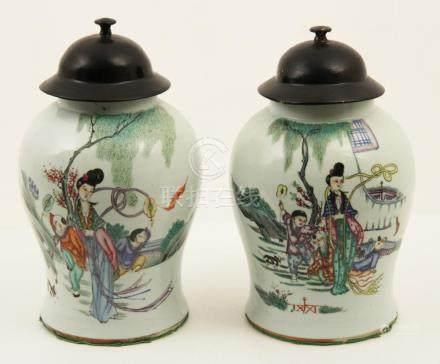 PR.. OF CHINESE PORCELAIN COVERED GINGER JARS