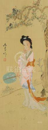Three Chinese paintings of ladies, 20th century, portrayed in abstract landscapes, signed with