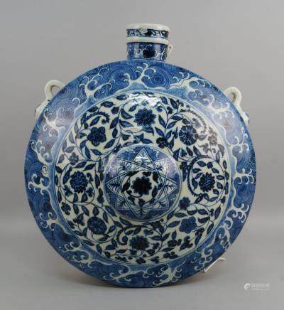 A Chinese Ming style blue and white flask, late 20th/early 21st century, 48cm highPlease refer to