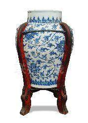 A large Chinese blue and white porcelain baluster vase, 19th century, decorated in the Ming style,