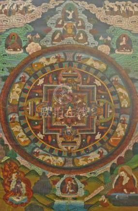 A Tibetan thanka, 20th century, the centre with a seated Buddha and Gods within stylised walls,