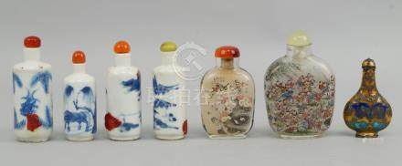 Four Chinese blue and white porcelain snuff bottles, late 19th/early 20th century, variously