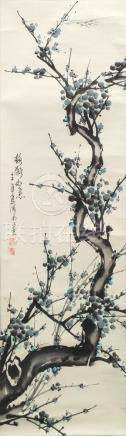 20th century Chinese School, plum blossom on a branch, ink and colour on xuan paper, hanging scroll,