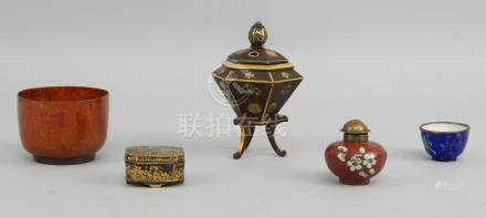 A Japanese hexagonal form korot, late 19th/early 20th century, the lid with a pierced finial, the