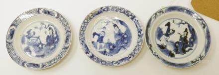 Three Chinese Kangxi period blue and white dishes, figural design, Diameter 10cm (one restored,