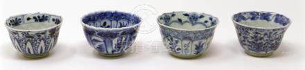 Four Chinese Kangxi period blue and white cups, figural designs