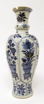 A Chinese Kangxi period blue and white vase, floral panel design, H.18cm (rim restored)