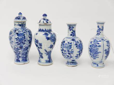 Four Chinese Kangxi period blue and white miniature vases, floral design, tallest H.12cm