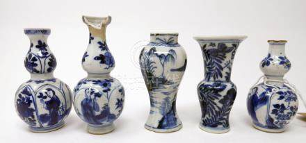 Five 18th century Chinese blue and white miniature vases (damaged)