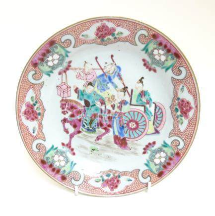 A Chinese Famille Rose enamelled plate depicting a warrior on horseback and other oriental figures,