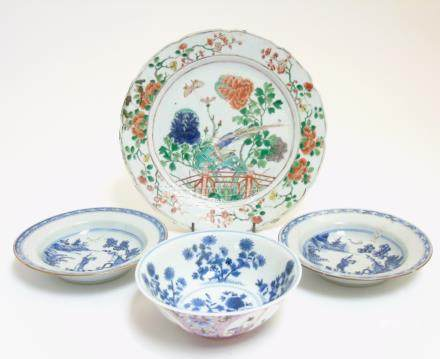 A quantity of Chinese ceramics comprising a plate with scalloped rim depicting a bird and butterfly