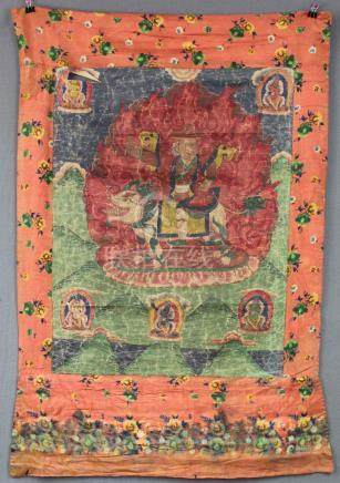 Thangka, China / Tibet old. Lamaistic guardian deity in fron