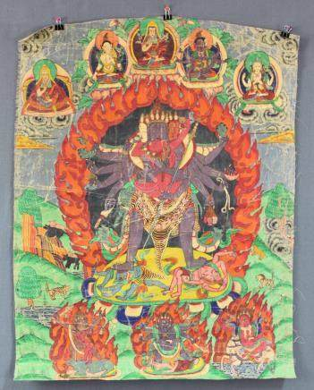 Thangka, China / Tibet old. Probably, Yama / Kalacakra ?