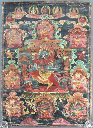 Thangka, China / Tibet old. Probably Yama / Mahakala ?
